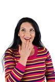 zaskakujący w górę kobiety TARGET929_0_ Obrazy Stock