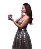 Zaskakująca dziewczyna z prezentem Obraz Royalty Free