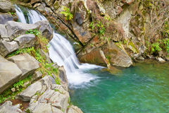 The Zaskalnik Waterfall. Ecological preserve. Stock Image