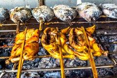zasklepiająca Piec na grillu ryba, Tajlandzki Piec na grillu kurczak obraz stock