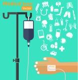Zasolonego rozwiązania torba z słupem, pacjenta s ręka, IV tubka, medyczna ikona Zdjęcia Stock