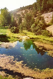 Zastały jezioro i góra Fotografia Stock