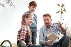 Zastanawiać się dzieci ono uśmiecha się podczas gdy ojciec wyjaśnia jak narastający drzewo obraz stock