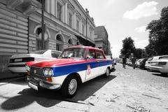 Zastava sérvio velho do carro fotos de stock royalty free
