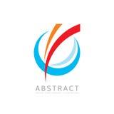 Zastosowanie - wektorowa biznesowa loga pojęcia ilustracja Barwiony pierścionek z abstrakcjonistycznymi kształtami Pozytywny geom ilustracja wektor
