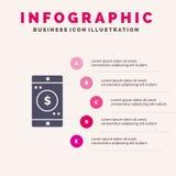 Zastosowanie, wisząca ozdoba, Mobilny zastosowanie, Dolarowy Stały ikony Infographics 5 kroków prezentacji tło royalty ilustracja
