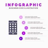 Zastosowanie, wisząca ozdoba, Mobilny zastosowanie, hasło ikony Infographics 5 kroków prezentacji Stały tło royalty ilustracja