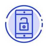 Zastosowanie, wisząca ozdoba, Mobilny zastosowanie, Otwiera błękit Kropkującą linii linii ikonę ilustracja wektor