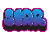 zaszczepka Gwiazdowy słowo sztuki kolorowa zakrywająca graffiti ulicy ściana Kiści farby majcher ilustracja wektor