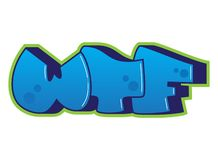 zaszczepka ` WTF ` słowo Uliczny sztuki kiści farby graffiti majcher royalty ilustracja