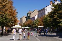 Zatłoczona główna ulica Sibiu, Rumunia Zdjęcia Stock