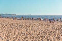 Zatłoczona plaża w Crimea Zdjęcie Stock