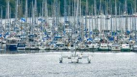 Zatłoczony port rzeka bawi się łodzie fotografia royalty free