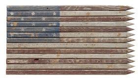 Zatarta Americana Drewniana flaga obrazy stock