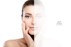 Zatarta strona na uśmiechniętej twarzy kobieta Operacja i Anty starzenie się Conc Obrazy Stock