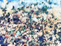 Zatarty kwiecisty tło z czerwonymi jesień kwiatami Rewolucjonistki i zieleni kwitnienia rośliny cyfrowa ilustracja zdjęcia royalty free