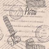 Zatarty tekst, znaczki, kolosseum, pisze list Rzym, Oparty wierza Pisa, pisze list Pisa, bezszwowy wzór zdjęcia royalty free