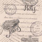 Zatarty tekst, znaczki, ręka rysujący akropol Ateny, literowanie, ręka rysująca louvre, literowanie Paryż, bezszwowy wzór obrazy royalty free