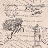 Zatarty tekst, znaczki, ręka rysujący Chrystus odkupiciel, pisze list Rio De Janeiro, ręka rysujący akropol Ateny, pisze list Ate obraz stock
