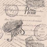 Zatarty tekst, znaczki, ręka rysujący kolosseum, pisze list Rzym, ręka rysujący akropol Ateny, pisze list Ateny, bezszwowy wzór fotografia stock