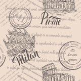 Zatarty tekst, znaczki, ręka rysujący kolosseum, pisze list Rzym, ręka rysująca Mediolańska katedra, pisze list Mediolan, bezszwo zdjęcia stock