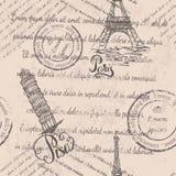 Zatarty tekst, znaczki, wieża eifla, pisze list Paryż, Oparty wierza Pisa, pisze list Pisa, bezszwowy wzór fotografia stock