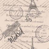 Zatarty tekst, znaczki, wieża eifla, pisze list Paryż, Royal Palace Madryt, pisze list Madryt, bezszwowy wzór zdjęcie royalty free
