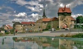Zatec - стена и башня городка Стоковые Изображения RF