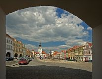 Zatec-Marktplatz Stockfoto