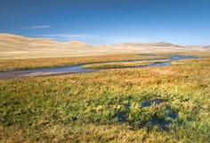 Zatoczka na obszarach trawiastych Wewnętrzny Mongolia Obrazy Royalty Free