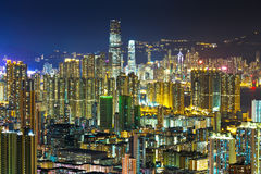 Zatłoczony w centrum budynek w Hong Kong Obrazy Royalty Free