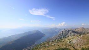 Zatoka Kotor od wzrostów Widok od góry Lovcen zatoka zbiory