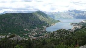 Zatoka Kotor od wzrostów Widok od góry Lovcen zatoka zdjęcie wideo