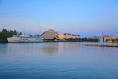 Zatoka Lahti i Północny schronienie na zmierzchu w Vyborg, Rosja Zdjęcia Stock