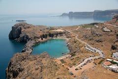 Zatoka na wyspie Lindos Zdjęcie Royalty Free