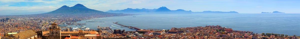 Zatoka Naples i Capri Panoramiczny widok obraz royalty free