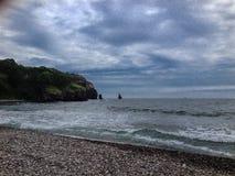 Zatoka Valentin w wszystkie swój chwale Skały, morze i piasek, Cudowny nastrój i gorący dzień Obrazy Royalty Free