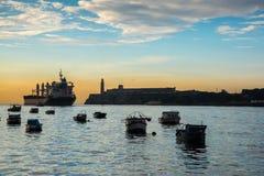 Zatoka z El Morro kasztelem w Hawańskim, Kuba Zdjęcie Stock