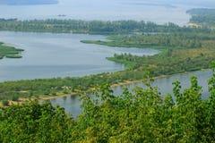 Zatoki rzeka z ławicami relaksować Zdjęcia Royalty Free