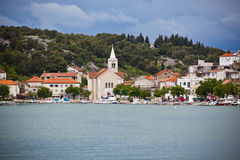 Zaton, Croatia view from the sea Stock Image