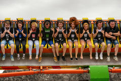 ZATOR,POLAND - JULY 9, 2016: People having fun on extremal high park attraction, Royalty Free Stock Photo