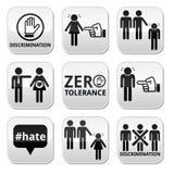 Zatrzymuje dyskryminację mężczyzna i kobieta guziki ustawiający, Obrazy Royalty Free
