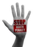 Zatrzymuje karę śmierci, otwarta ręka Obrazy Stock