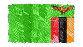 Zatrzymuje ruchów zambiów kreskówki animacji tła chorągwianej nowej ilości symbolu markier rysującego krajowego patriotycznego ko ilustracja wektor