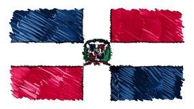 Zatrzymuje ruch republiki dominikańskiej flagi kreskówki animacji tła nowej ilości markier rysujący krajowy patriotyczny kolorowe ilustracji