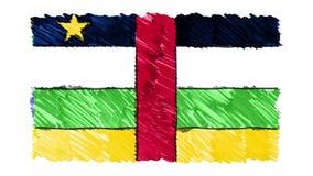 Zatrzymuje ruch republiki flagi kreskówki animacji Środkowo-afrykański tła ilości markier rysującego nowego obywatela patriotyczn ilustracji
