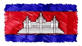 Zatrzymuje ruchu KAMBODŻA flagi kreskówki animacji tła nowej ilości symbolu markier rysującego krajowego patriotycznego koloroweg zbiory