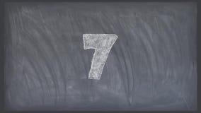 Zatrzymuje ruchu odliczanie kreskówki pastelową animację na blackboard tle - nowej ilości unikalny handmade retro rocznik royalty ilustracja