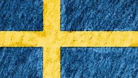 Zatrzymuje ruchu pastelu kredy Szwecja flaga kreskówki animaci pętli bezszwowego tła ilości kredka rysującego nowego obywatela zbiory