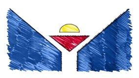 Zatrzymuje ruchu Saint Martin flagi kreskówki animacji tła nowej ilości markier rysującego krajowego patriotycznego kolorowego sy royalty ilustracja